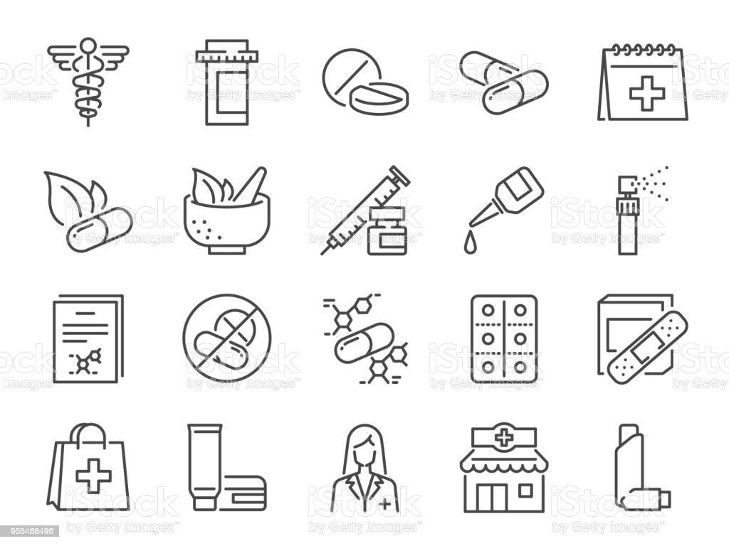 Conjunto de iconos de farmacia. Incluye los iconos de personal médico, drogas, píldoras, cápsulas de medicina, hierbas medicinales, farmacéutico, farmacia y más - ilustración de arte vectorial