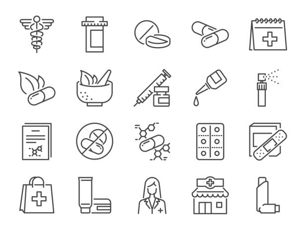 illustrazioni stock, clip art, cartoni animati e icone di tendenza di pharmacy icon set. included the icons as medical staff, drug, pills, medicine capsule, herbal medicines,  pharmacist, drugstore and more - farmaco