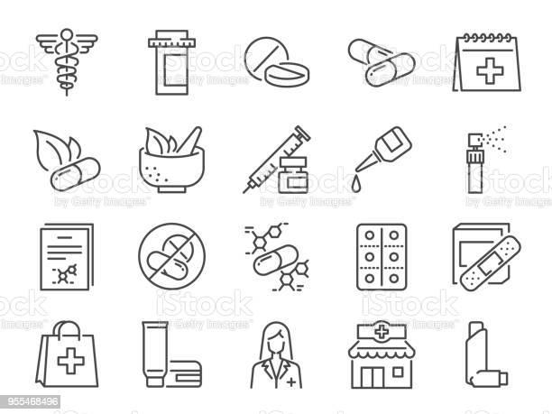 Pharmacy Icon Set Included The Icons As Medical Staff Drug Pills Medicine Capsule Herbal Medicines Pharmacist Drugstore And More - Arte vetorial de stock e mais imagens de Administração de Alimentos e Medicamentos dos EUA