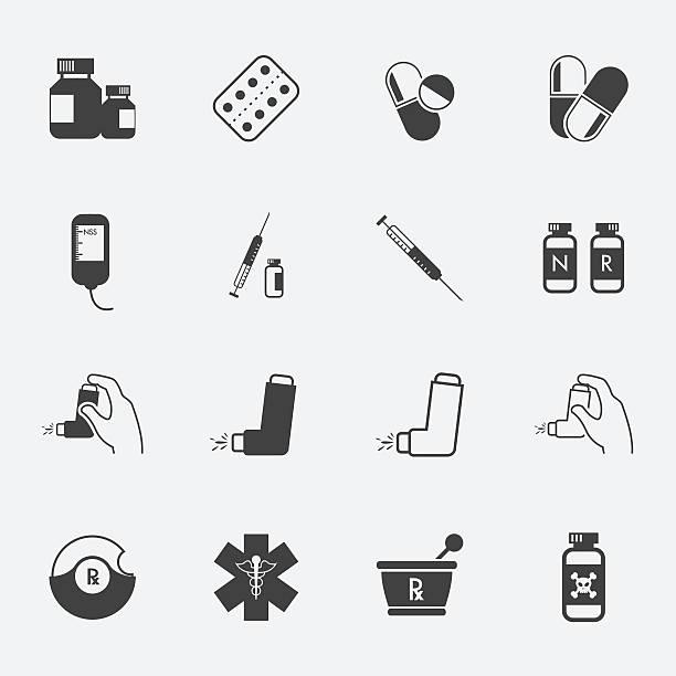 illustrations, cliparts, dessins animés et icônes de icônes de médecine et de pharmacie icônes définies. - pastille