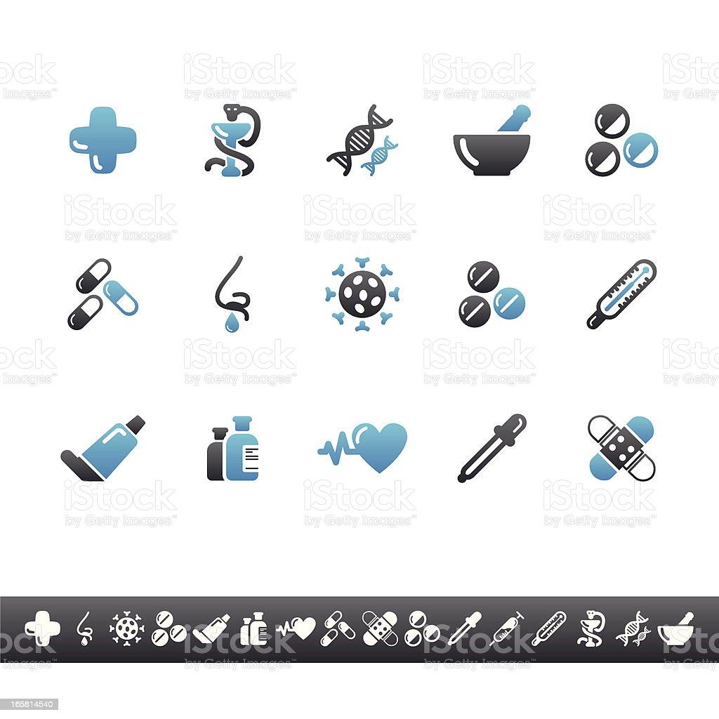 Pharmacy Icons | Blue Grey royalty-free stock vector art