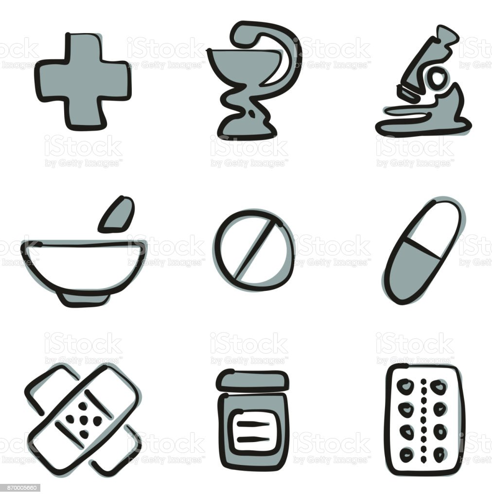 Pharmacy Icons Freehand 2 Color vector art illustration