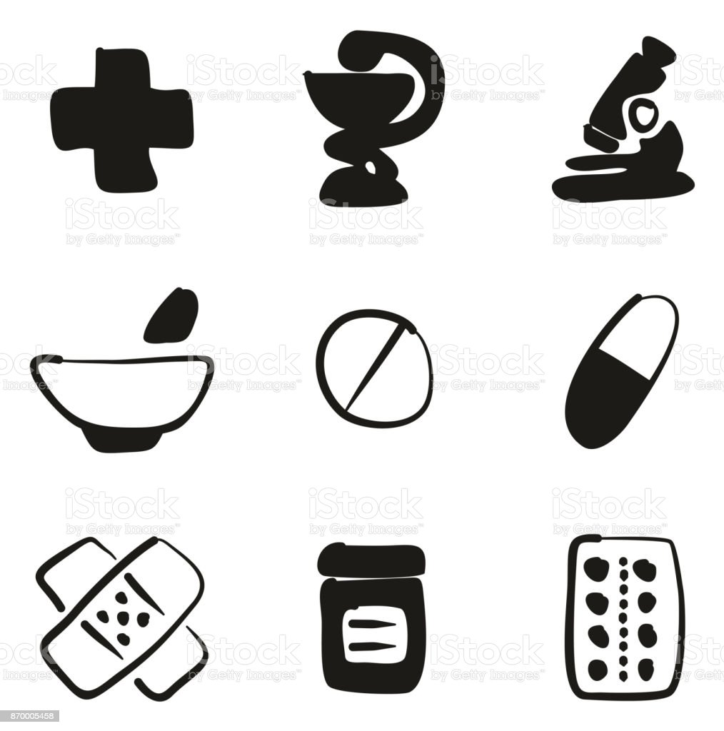 Pharmacy Icons Freehand Fill vector art illustration