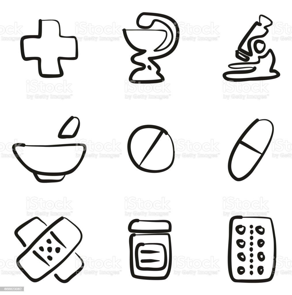 Pharmacy Icons Freehand vector art illustration