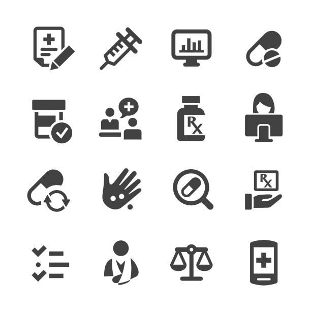 illustrazioni stock, clip art, cartoni animati e icone di tendenza di set icone farmacia - serie acme - farmacia
