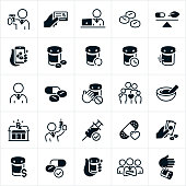 A set of pharmacy icons. The icons include pharmacists, medicine, prescriptions, pills, medications, insurance card, natural medicines, online prescriptions, prescription refills, family, dangers, mortar and pestle, pharmacy, flu shot, immunization, bandage, purchasing medications, medication costs, pill bottle, and disposal of medications to name just a few.