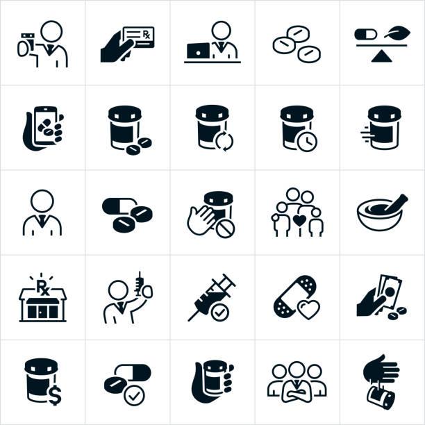 illustrazioni stock, clip art, cartoni animati e icone di tendenza di icone della farmacia - farmacia