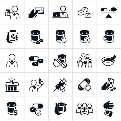 Pharmacy Icons - Immagini vettoriali stock e altre immagini di Accudire