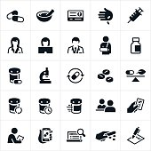 A set of pharmacy icons. The icons include pharmacists, pharmaceuticals, pills, medicine, insurance card, immunizations, insulin, pill bottles, refills, speed of service, customer service, insurance, prescription, medical equipment and other related items.