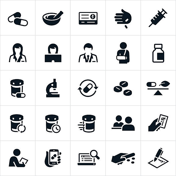 Pharmacy Icons A set of pharmacy icons. The icons include pharmacists, pharmaceuticals, pills, medicine, insurance card, immunizations, insulin, pill bottles, refills, speed of service, customer service, insurance, prescription, medical equipment and other related items. pharmacist stock illustrations