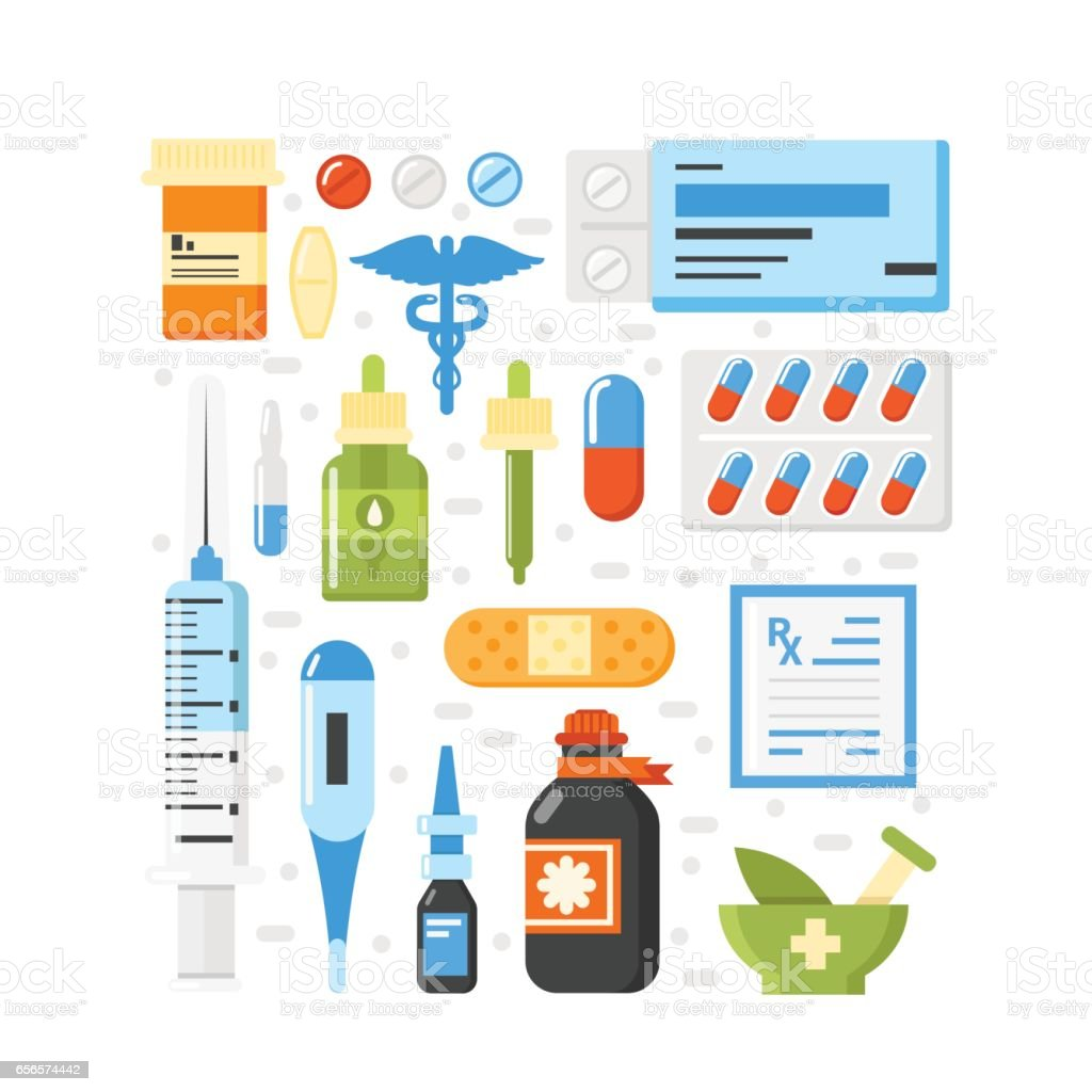 Pharmacy icons vector art illustration