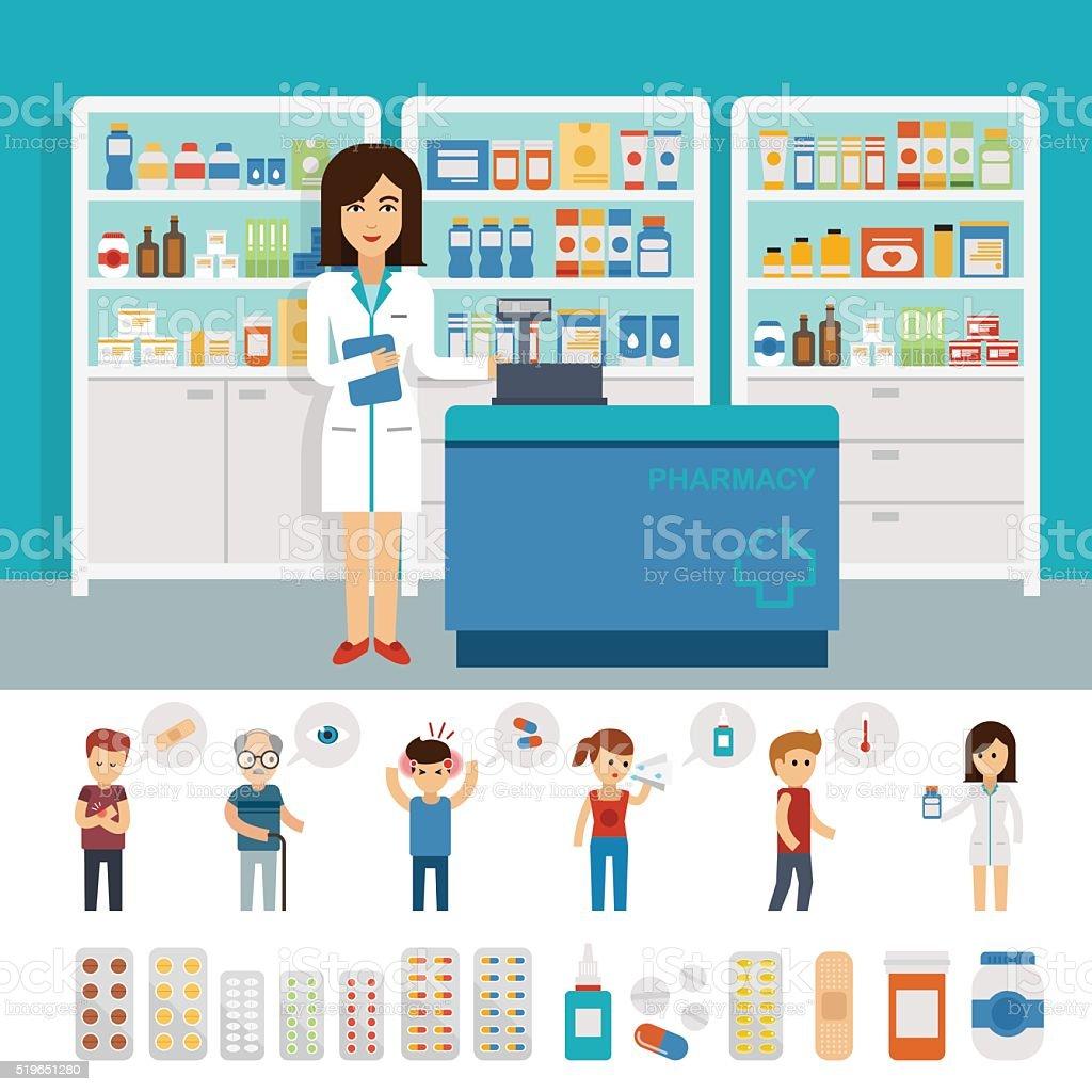 Farmacia infografica elementi e banner progettazione piatto - arte vettoriale royalty-free di Accudire