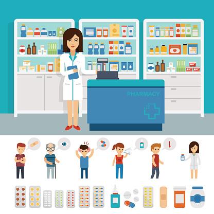 Farmacia Infografica Elementi E Banner Progettazione Piatto - Immagini vettoriali stock e altre immagini di Accudire