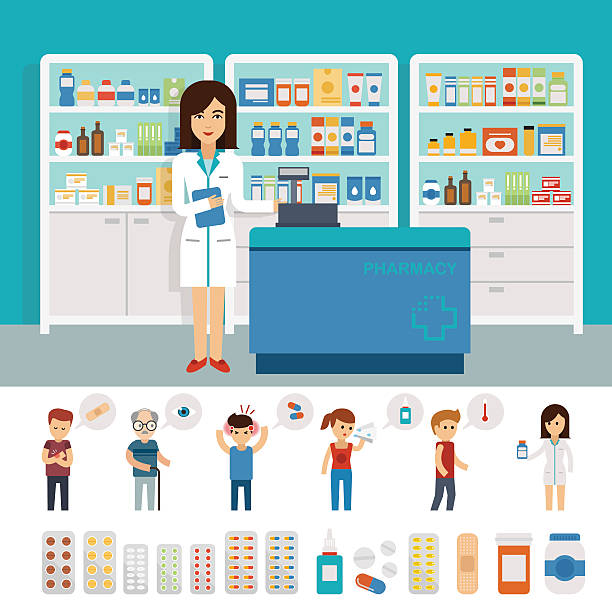 Pharmacy infographic elements and flat banner design Pharmacy infographic elements and flat banner design. Vector pharmacy drugstore set design. Drugs icons pharmacist stock illustrations