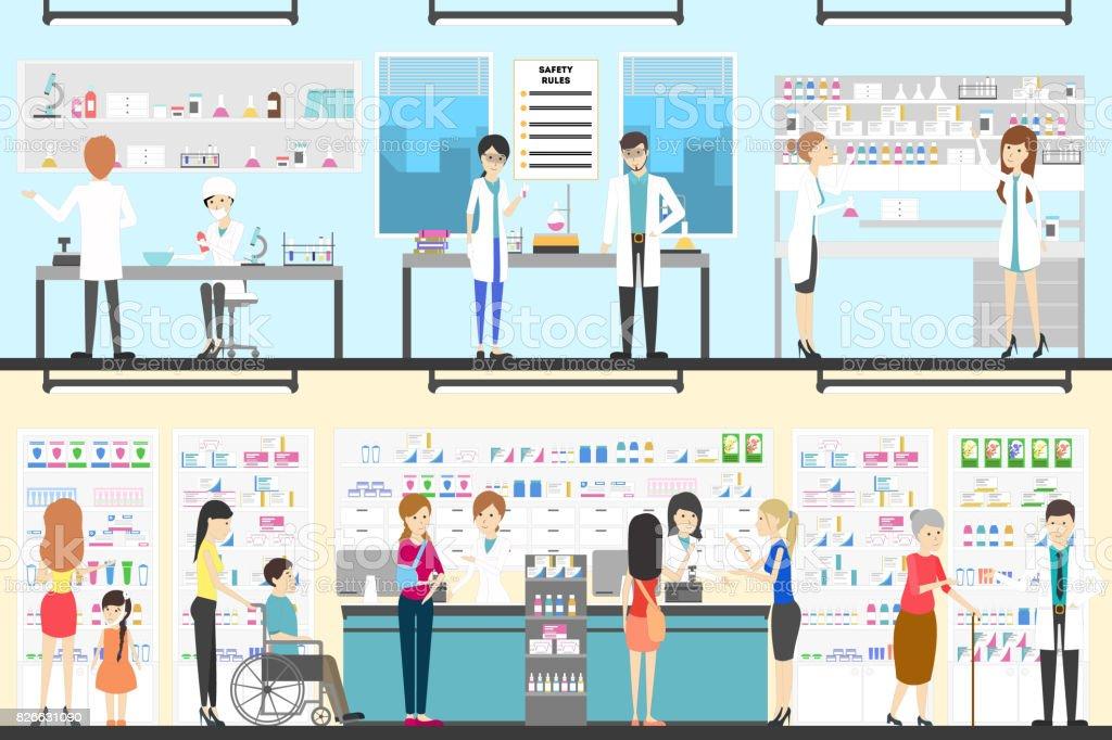 Pharmacy interior set. vector art illustration