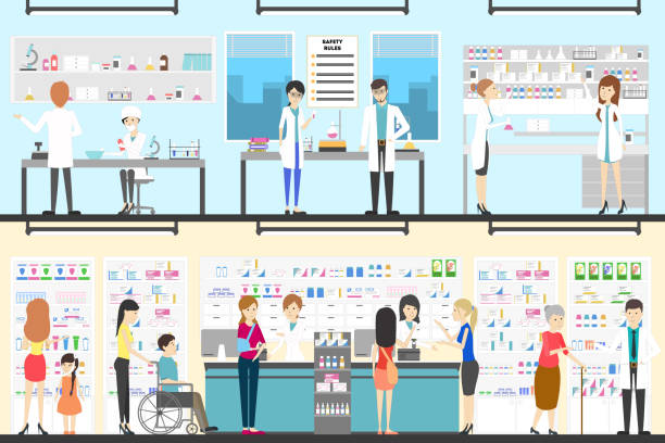 Pharmacy interior set. Pharmacy interior set. People in drug store with pharmacists. pharmacist stock illustrations