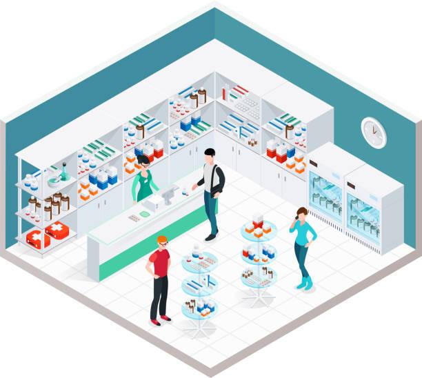 illustrazioni stock, clip art, cartoni animati e icone di tendenza di interni farmacia - farmacia