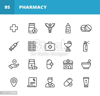 20 Pharmacy Outline Icons.