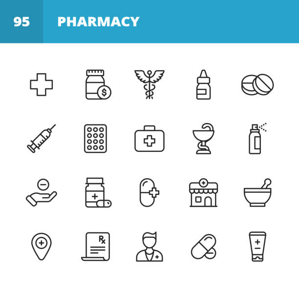 Pharmacy Line Icons. Editable Stroke. Pixel Perfect. For Mobile and Web. Contains such icons as Pharmacy, Pill, Capsule, Vaccination, Drugstore, Painkiller, Prescription, Syringe, Doctor, Hospital 20 Pharmacy Outline Icons. first aid stock illustrations