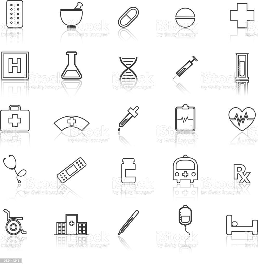 Iconos de línea farmacia con reflexión sobre fondo blanco ilustración de iconos de línea farmacia con reflexión sobre fondo blanco y más banco de imágenes de accesibilidad para discapacitados libre de derechos