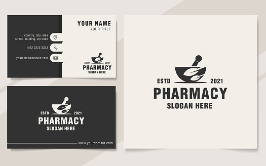 Pharmacy logo template monogram style
