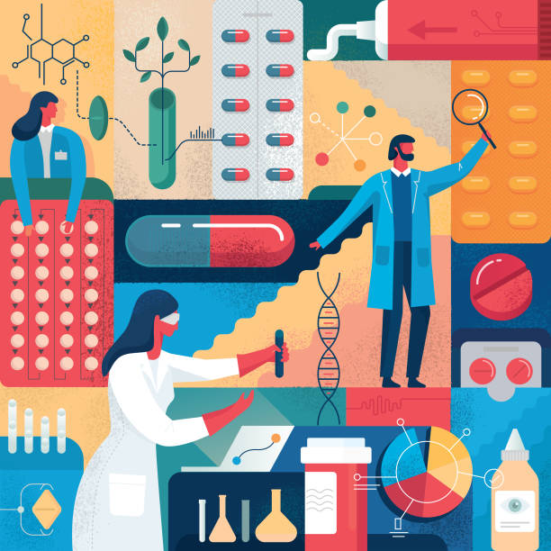 Pharma-Arzneimittelforschung – Vektorgrafik