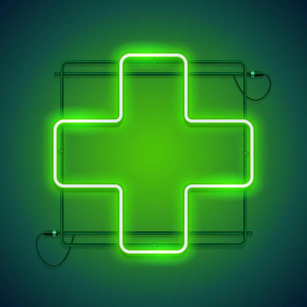 illustrazioni stock, clip art, cartoni animati e icone di tendenza di farmacia neon segno con una croce verde - farmacia