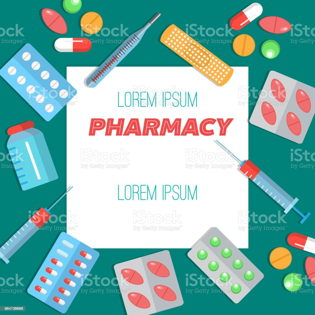 Pharmacy poster with flat icons royalty-free pharmacy poster with flat icons stock vector art & more images of adhesive bandage