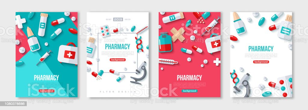 Pharmacy Posters Set - arte vettoriale royalty-free di Accudire