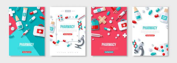 illustrazioni stock, clip art, cartoni animati e icone di tendenza di set poster farmacia - farmacia