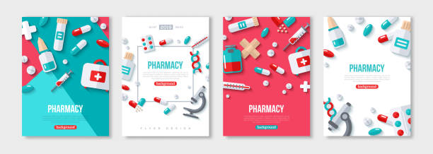 illustrazioni stock, clip art, cartoni animati e icone di tendenza di pharmacy posters set - farmaco