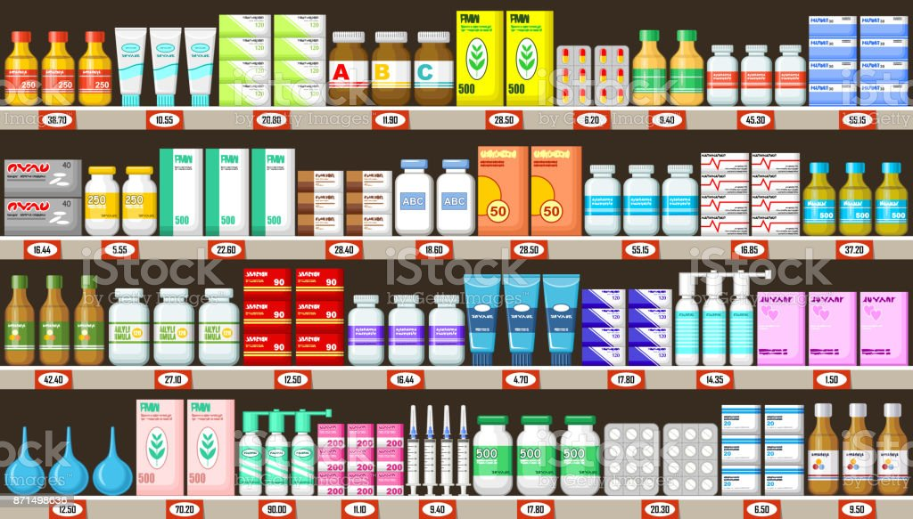 Pharmacy shelves with medicine vector art illustration