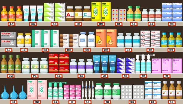 ilustrações de stock, clip art, desenhos animados e ícones de pharmacy shelves with medicine - prateleira compras