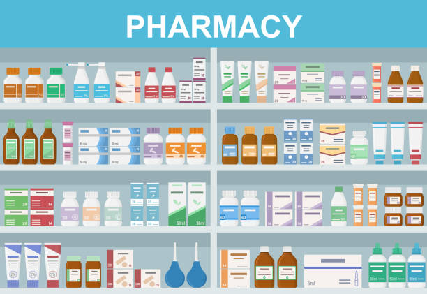 Pharmacy shelves with medicines. Concept of pharmaceutics and medication. Pharmacy shelves with medicines. Concept of pharmaceutics and medication. Flat style vector illustration. pharmacy stock illustrations