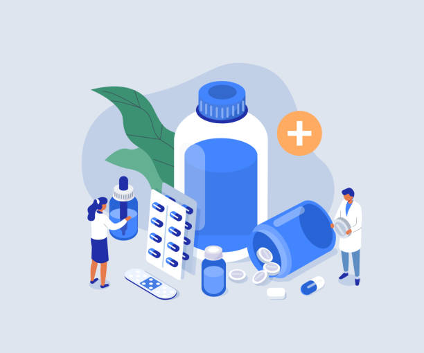 pharmacy shop Doctor Pharmacist in Drugstore Standing near Medicine Pills and Bottles. Medical Staff  Choosing Medicaments. Pharmacy Store Concept. Flat Isometric Vector Illustration. medecin stock illustrations
