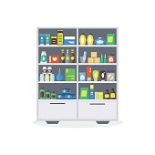 Pharmacy Showcase or Shop Shelves. Vector