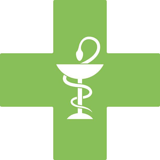 illustrazioni stock, clip art, cartoni animati e icone di tendenza di farmacia serpente simbolo sulla croce verde isolato su bianco - farmacia