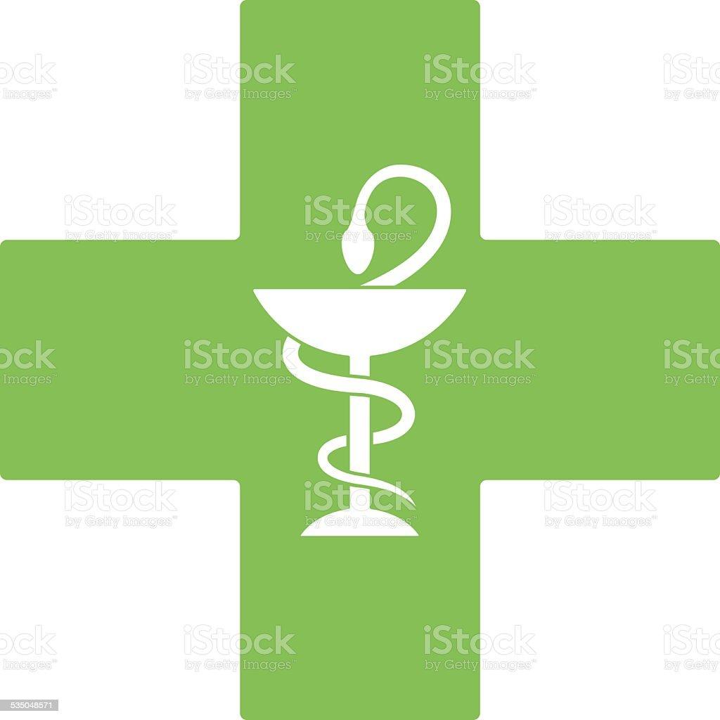 Pharmacy snake symbol on green cross isolated on white vector art illustration