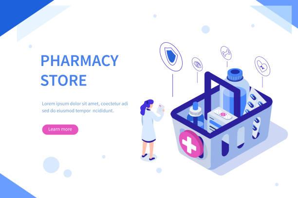 illustrazioni stock, clip art, cartoni animati e icone di tendenza di farmacia negozio - farmacia