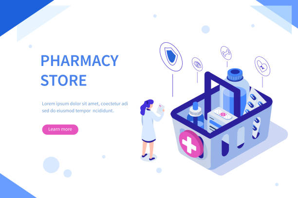 pharmacy store Pharmacy store concept. Can use for web banner, infographics, hero images. Flat isometric vector illustration isolated on white background. pharmaceutical industry stock illustrations