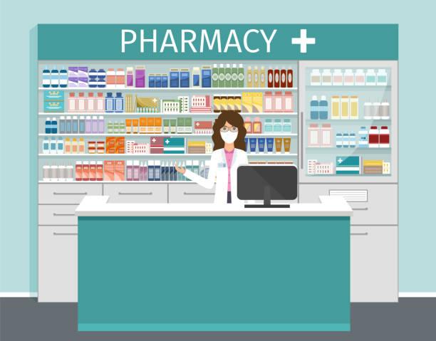 illustrazioni stock, clip art, cartoni animati e icone di tendenza di negozio di farmacia con farmacista in maschera medica. illustrazione vettoriale. - farmacia