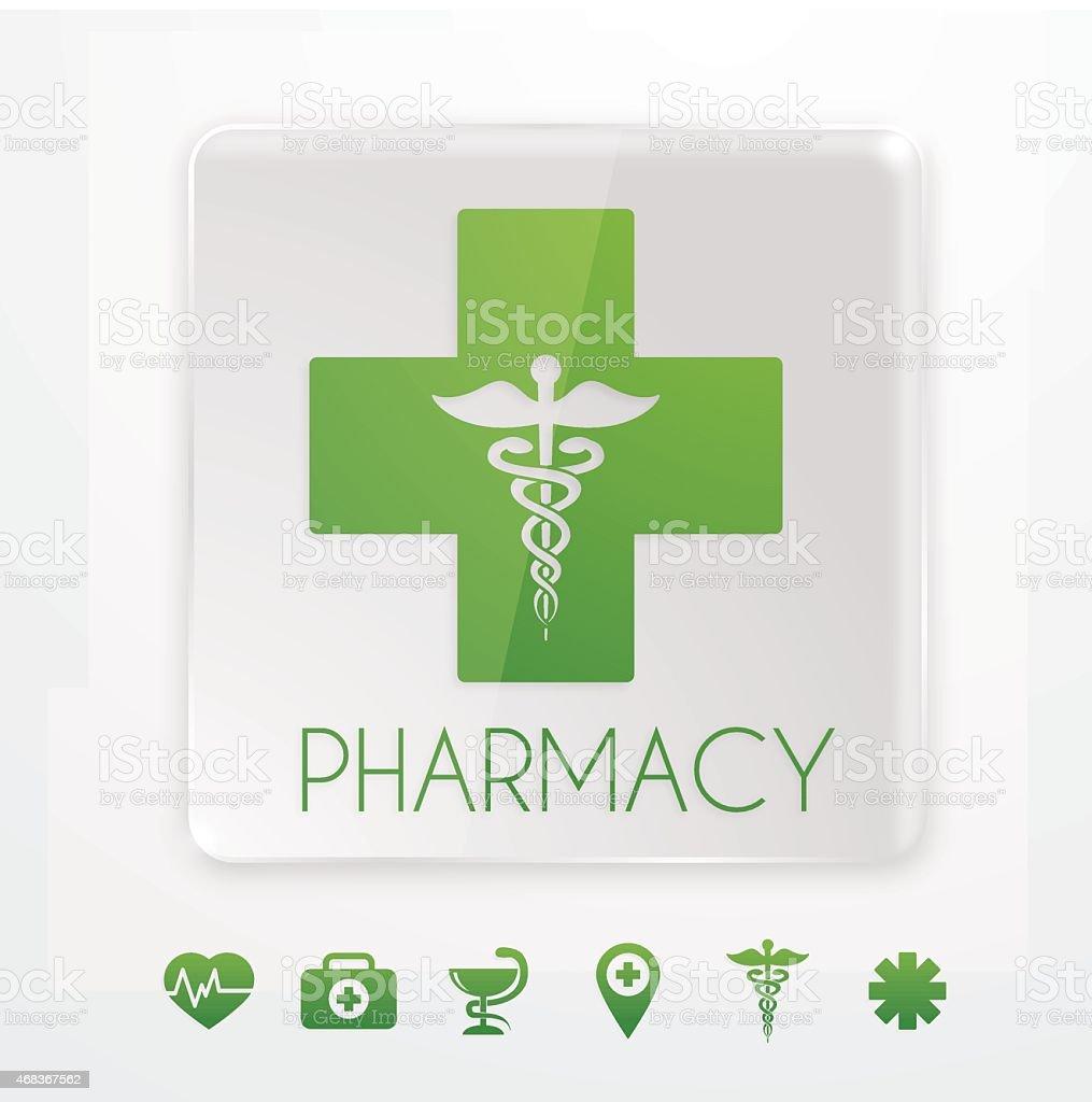Pharmacy symbol on glass signboard vector art illustration