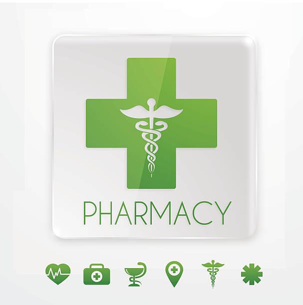 illustrazioni stock, clip art, cartoni animati e icone di tendenza di simbolo farmacia in vetro insegna - croce farmacia