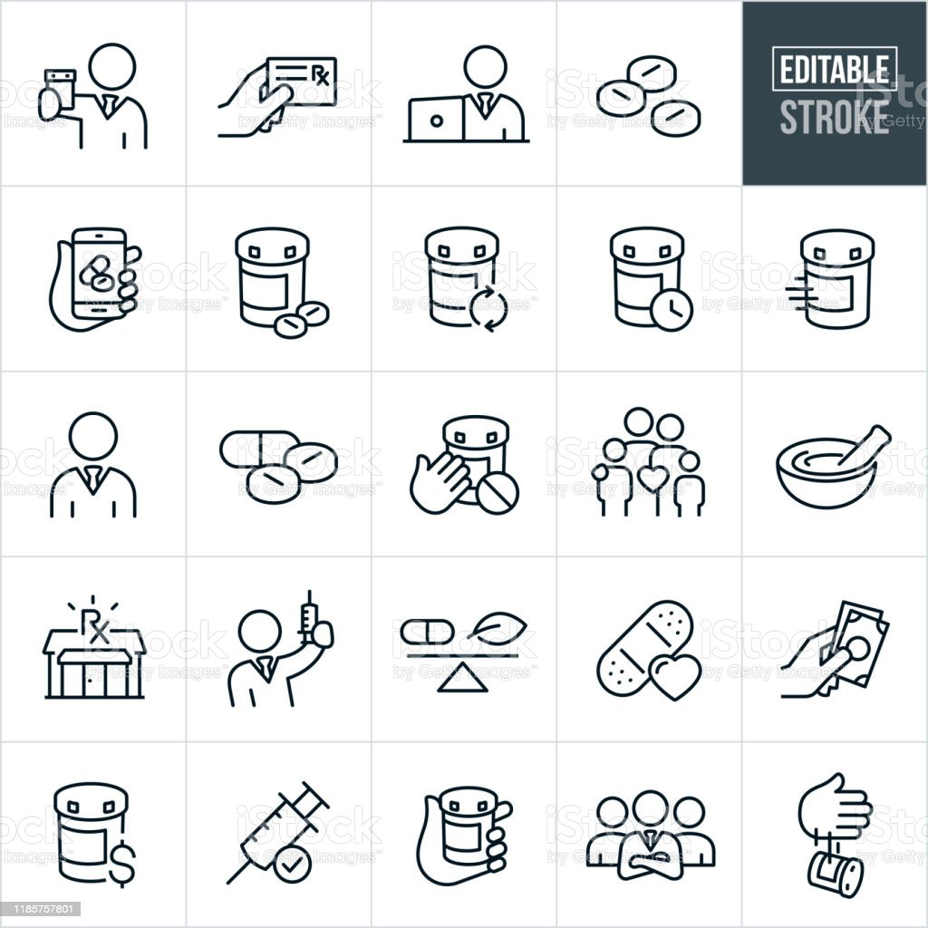 Pharmacy Thin Line Icons - Editable Stroke - Grafika wektorowa royalty-free (Apteka)