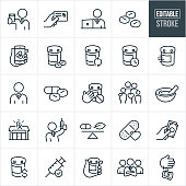 A set pharmacy icons that include editable strokes or outlines using the EPS vector file. The icons include a pharmacy, pharmacist, pharmaceuticals, medicine, pills, prescriptions, prescription card, online ordering, pill bottle, prescription refill, child safety, family, mortar and pestle, syringe, vaccination, bandage, paying and other pharmacy related icons.