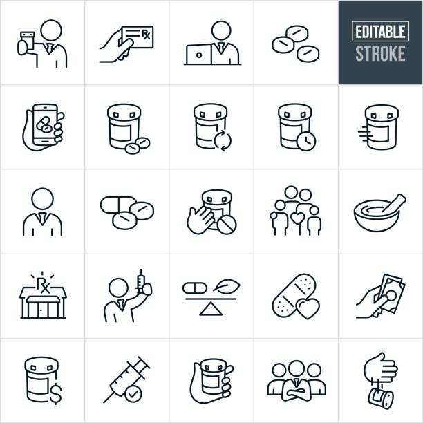 pharmacy thin line ikony - edytowalny skok - kapsułka stock illustrations