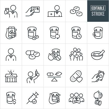 Pharmacy Thin Line Icons Editable Stroke - Immagini vettoriali stock e altre immagini di Bianco e nero