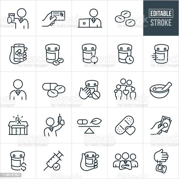 Pharmacy Thin Line Icons Editable Stroke - Arte vetorial de stock e mais imagens de Arte Linear