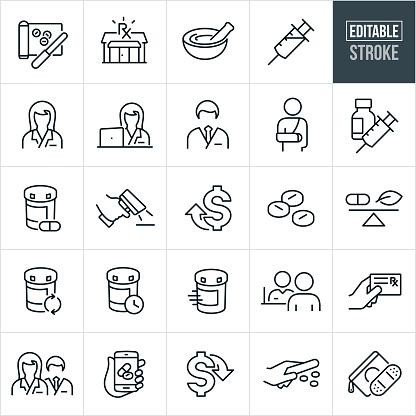 Pharmacy Thin Line Icons - Editable Stroke