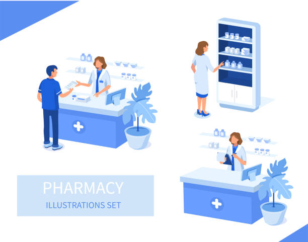 pharmacy Doctor pharmacist and patient in drugstore. Can use for web banner, infographics, hero images. Flat isometric vector illustration isolated on white background. pharmaceutical industry stock illustrations